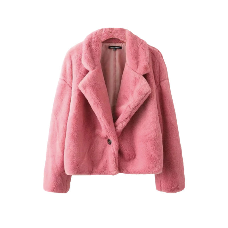 Pink Short Faux Fur Coat