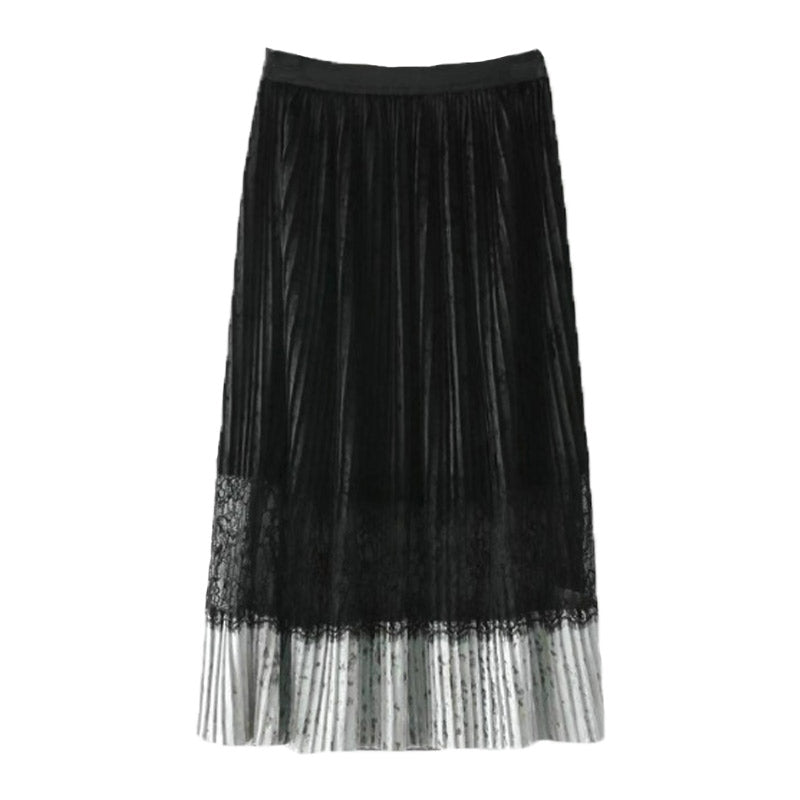 Velvet And Lace Pleated Long Skirt