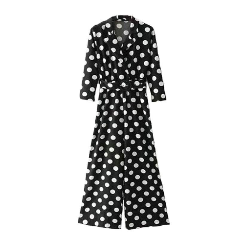 Polka Dot Jumpsuit With Belt - buyandpossess