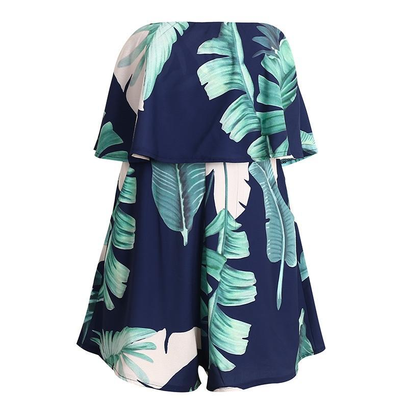 Tropical Print Sleeveless Playsuit - buyandpossess