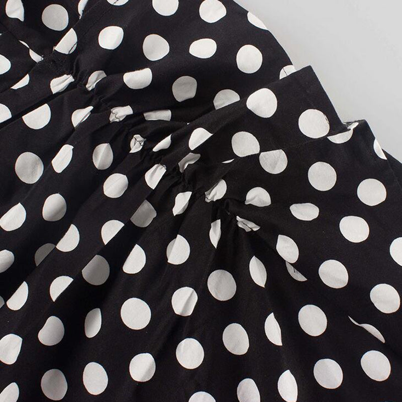 Frill Asymmetircal Polka Dot Dress - buyandpossess