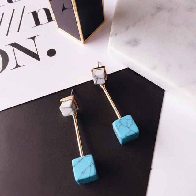 Blue Marble Cube Drop Earrings