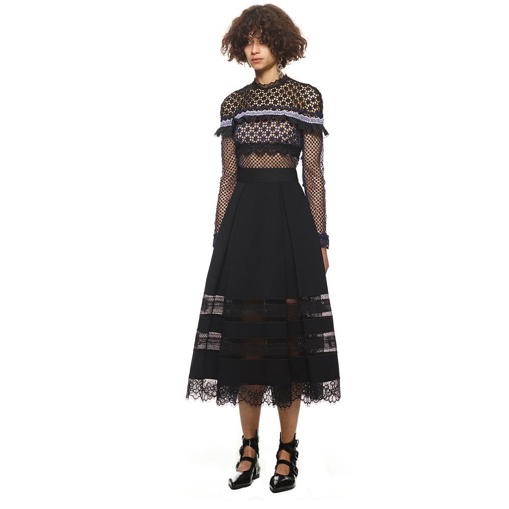 Contrast Fabric Lace Long Sleeve Occasion Dress