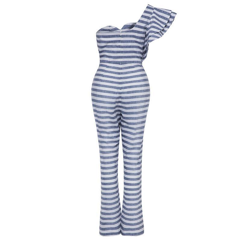Single Sleeve Stripe Jumpsuit - buyandpossess