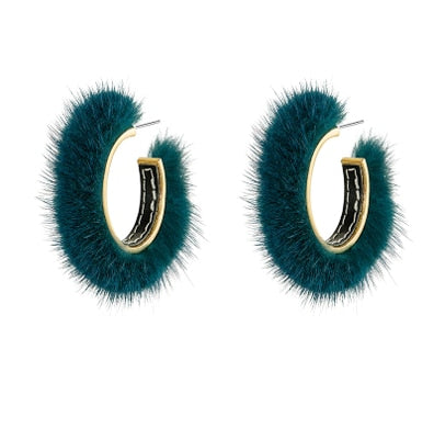 Fur Hoop Earrings