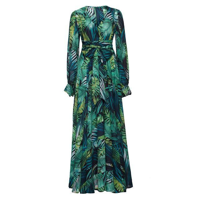 Long Sleeve Tropical Print Maxi Dress - buyandpossess