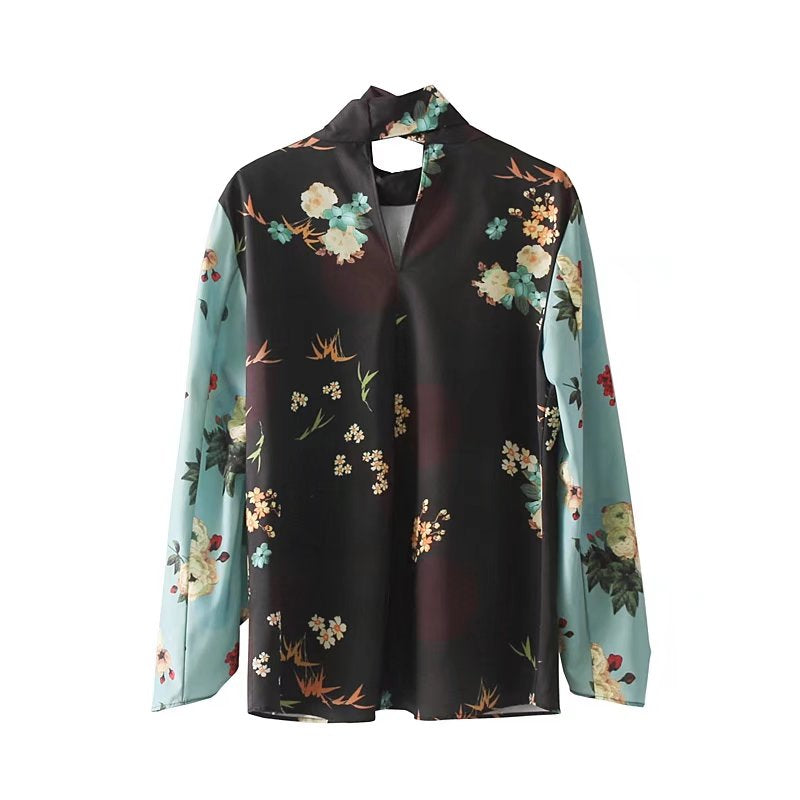 Two Tone Floral Bow Blouse