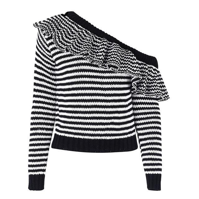 One Shoulder Stripe Sweater - buyandpossess
