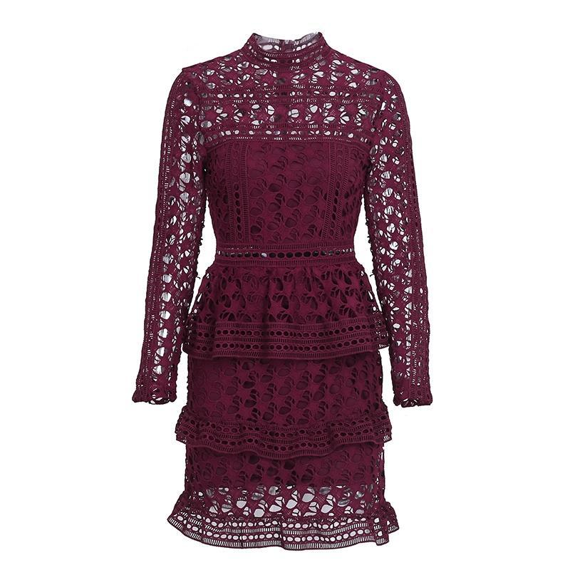 Lace Long Sleeve Ruffle Dress - buyandpossess