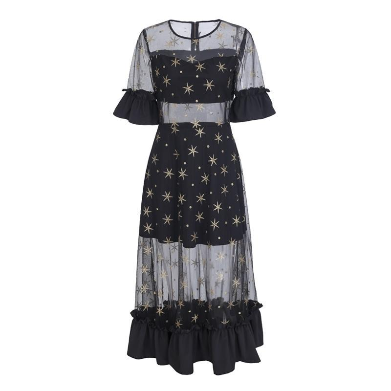 Mesh Ruffle Dress with Stars - buyandpossess