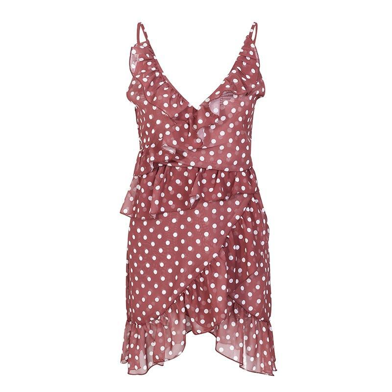 Ruffle Tie Front Polka Dot Mini Dress - buyandpossess