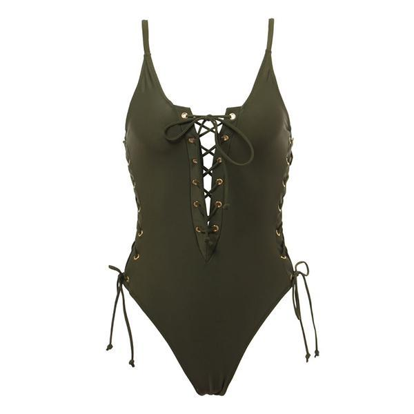 Lace Up Details One Piece Swimsuit - buyandpossess