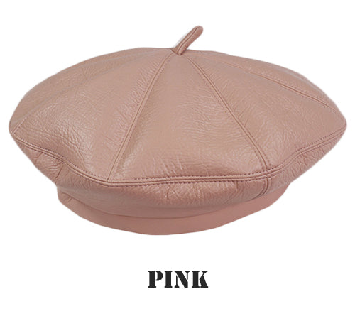 Faux Leather Beret Hat - buyandpossess