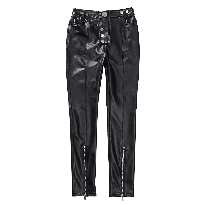 PU Trousers with Zippers - buyandpossess