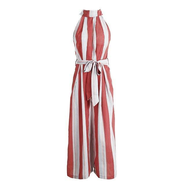 Backless Halter Neck Stripe Jumpsuit - buyandpossess