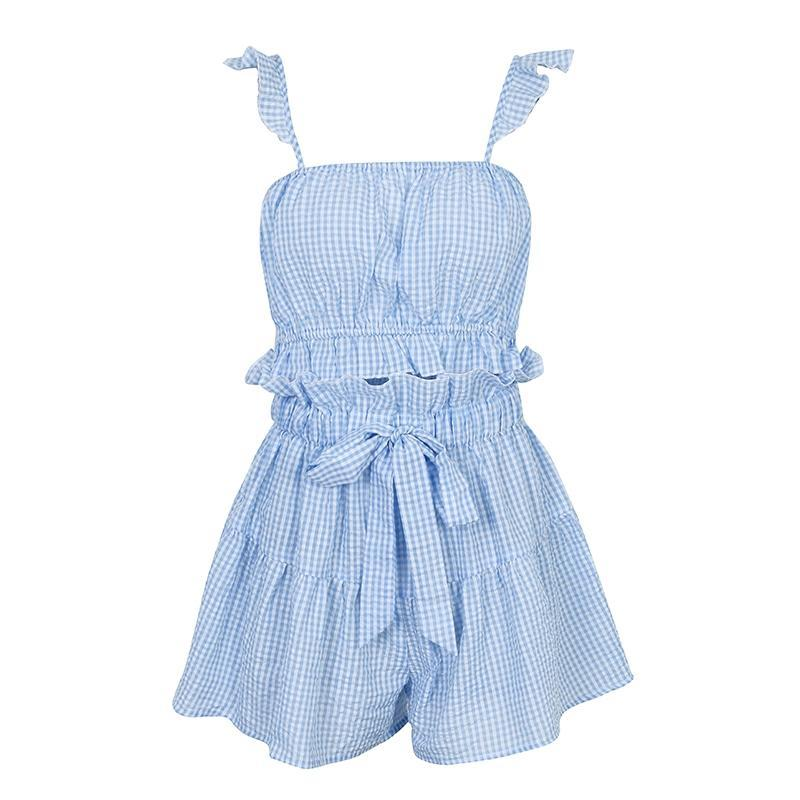 Two Piece Plaid Ruffle Summer Set - buyandpossess