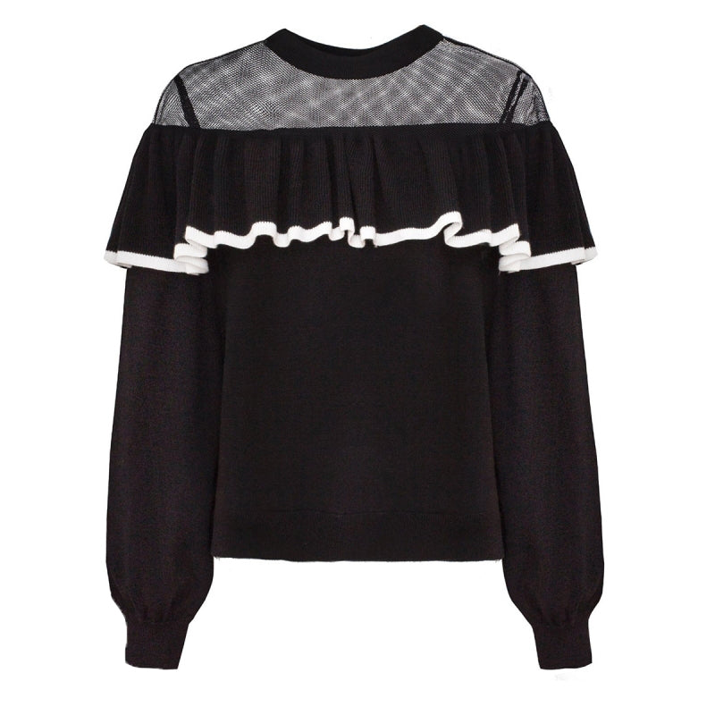 Mandarin Collar Lace Sweater - buyandpossess