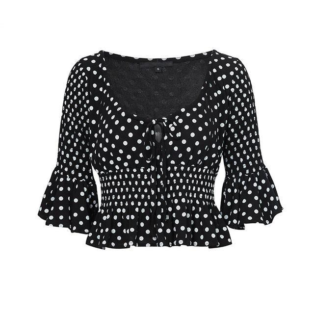Polka Dot Ruffle And Flare Sleeve Top - buyandpossess