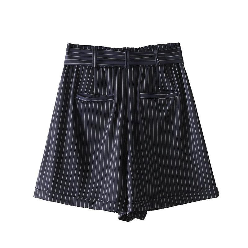 Pinstripe Tie Waist Shorts - buyandpossess