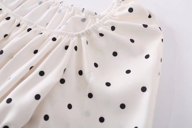 Polka Dot Puff Sleeve Square Neckline Blouse