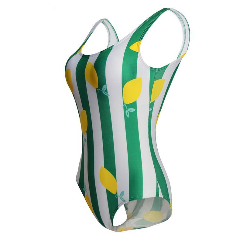 Lemon And Stripe Swimsuit - buyandpossess