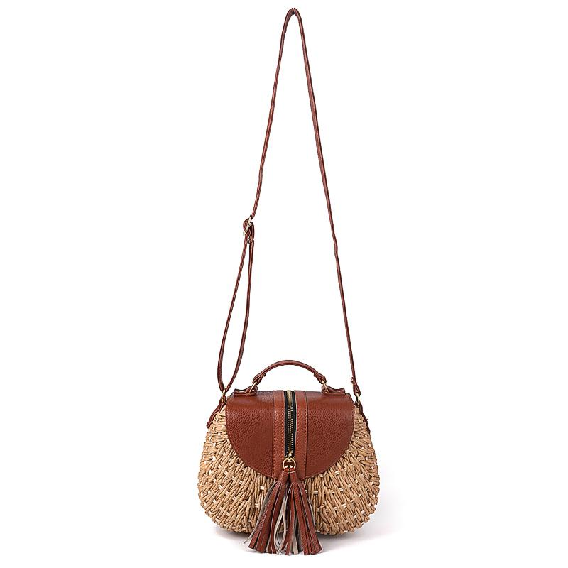 Contrast Flap PU And Straw Bag - buyandpossess