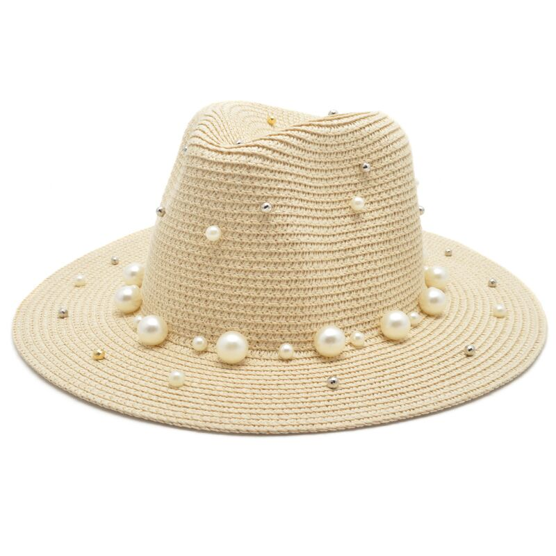 Straw Hat With Pearls - buyandpossess