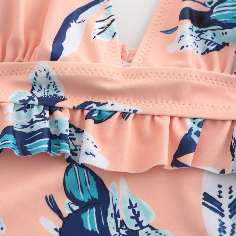 Peach And Blue Floral Swimsuit - buyandpossess