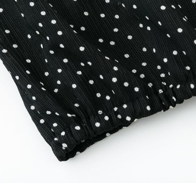 Polka Dot Long Sleeve Lace Up Top - buyandpossess