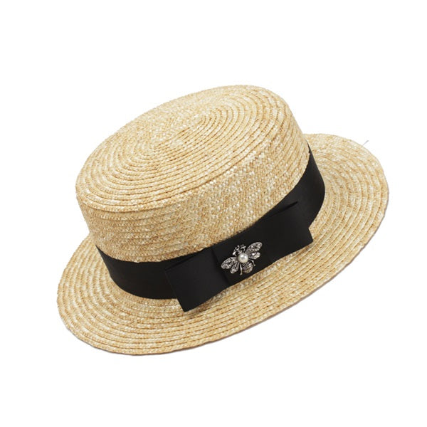 Summer Straw Hat With Satin Ribbon - buyandpossess