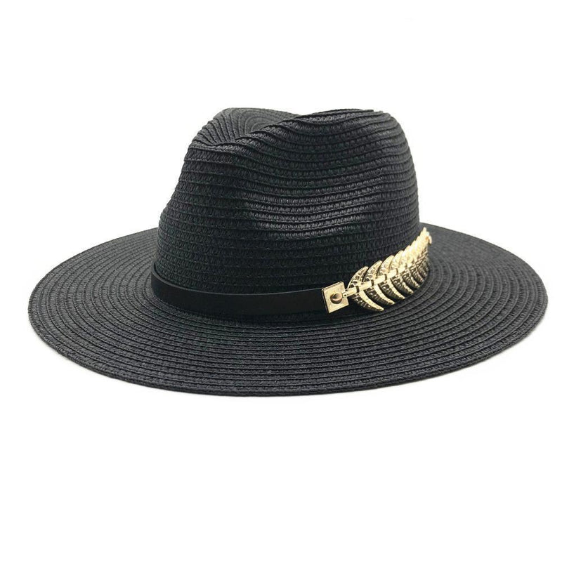 Black Straw Hat With Vintage Decor - buyandpossess
