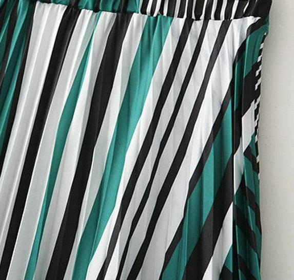 Green Striped And Pleated Midi Skirt