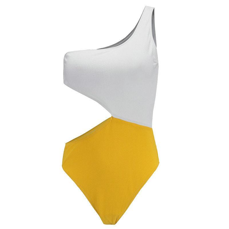 White And Yellow Cut Out Swimsuit - buyandpossess