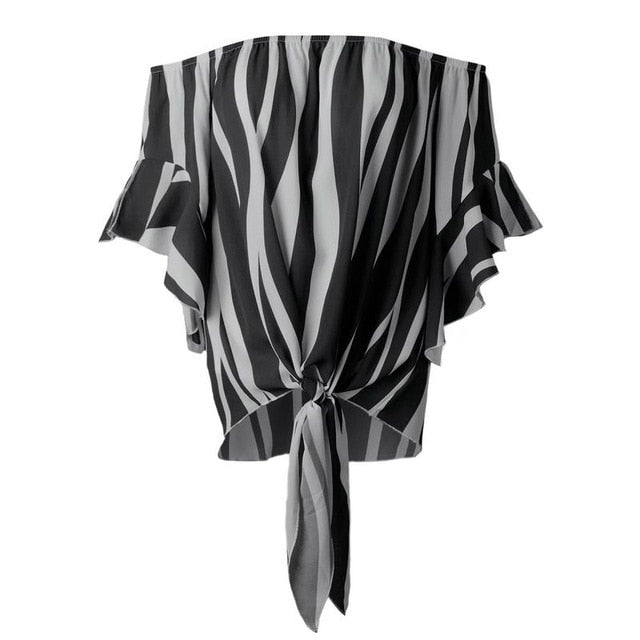 Abstract Zebra Print Tie Front Top - buyandpossess