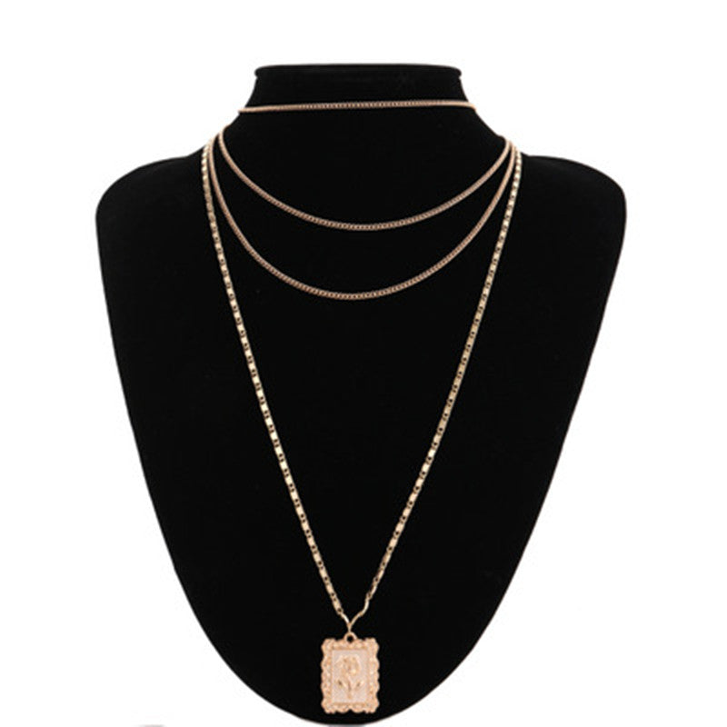 Rose Pendant Multi-Layer Necklace - buyandpossess