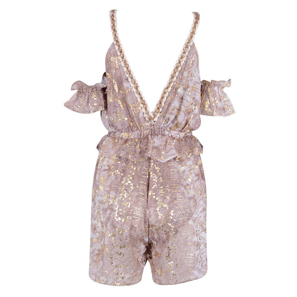 Gold Embroidery Ruffle Playsuit - buyandpossess
