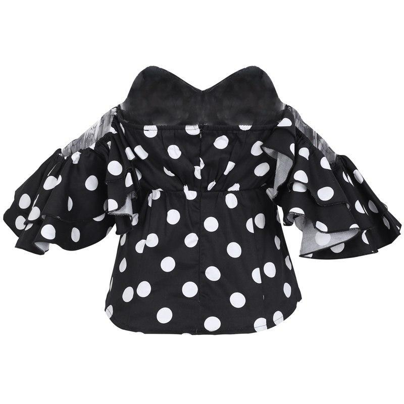 Off-shoulder Polka Dot Ruffle Top - buyandpossess