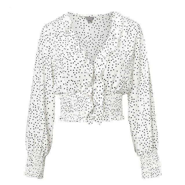 Polka Dot Long Sleeve Ruffle Blouse - buyandpossess