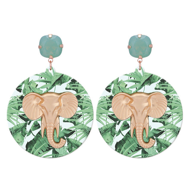 Leaf and Elephant Statement Earrings - buyandpossess