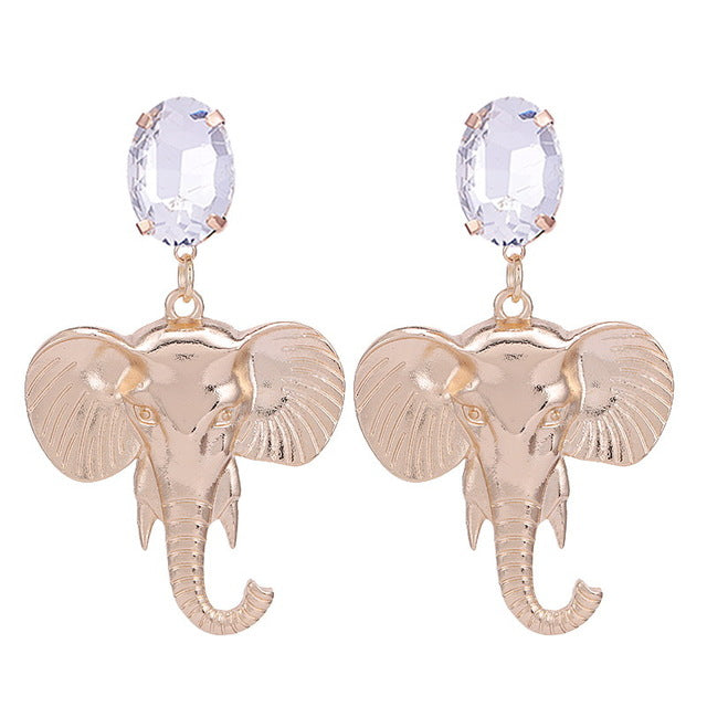 Elephant and Rhinestone Drop Earrings