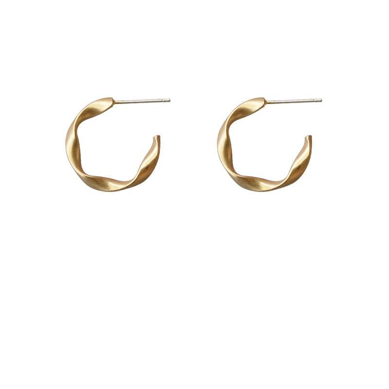 Matte Gold Small Hoop Earrings