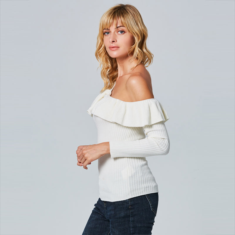 Single Shoulder Ruffle Top
