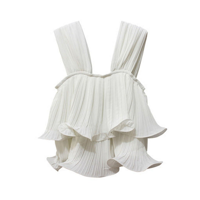 Pleated Wide Straps Top - buyandpossess