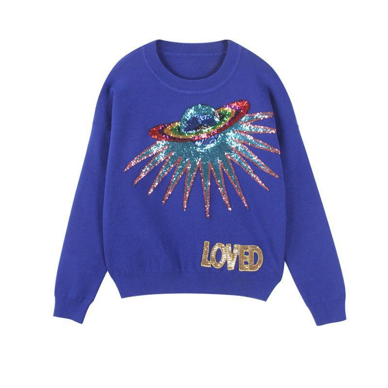 Sequin Space Ship Applique Sweater