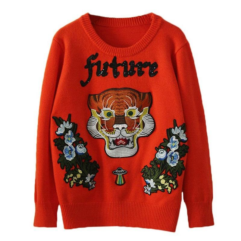 Flower And Tiger Embroidery Sweater