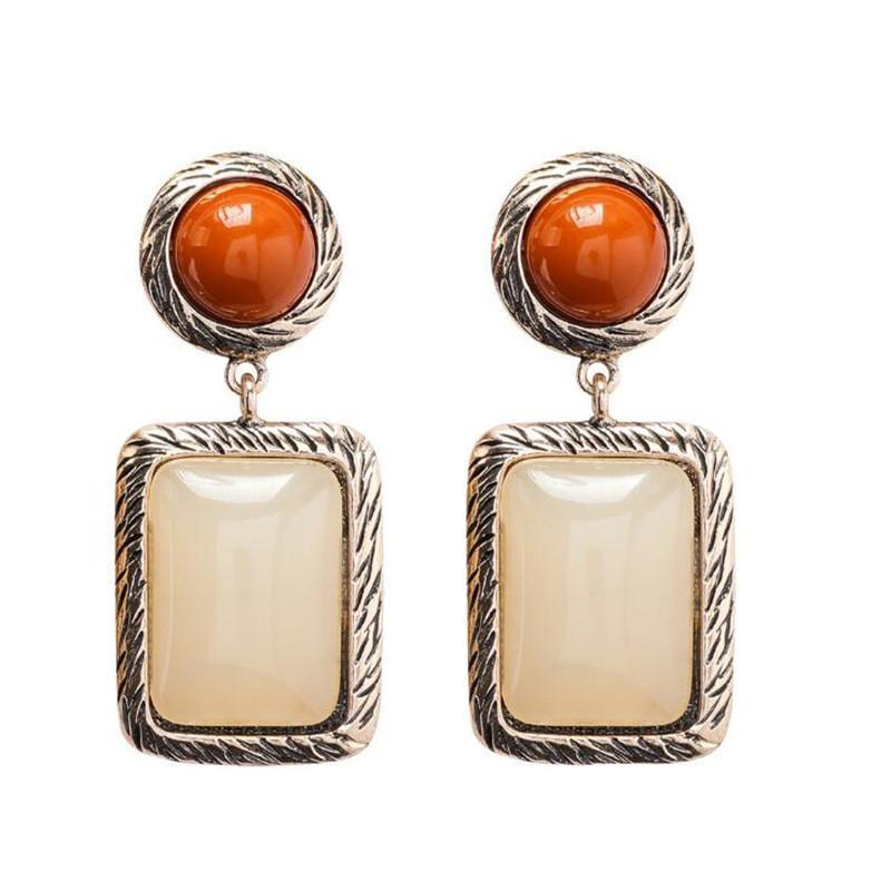 Square Vintage Style Stone Earrings