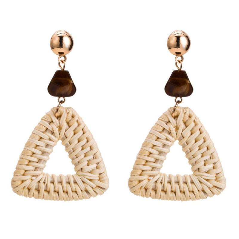 Straw Triangle Drop Earrings