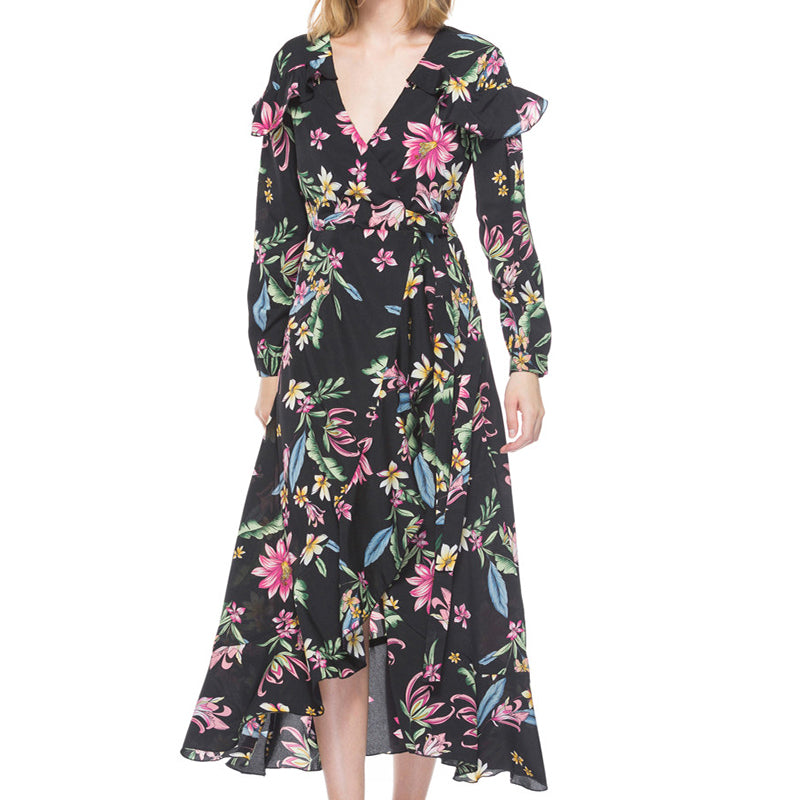 Floral Long Sleeve Tie Front Dress