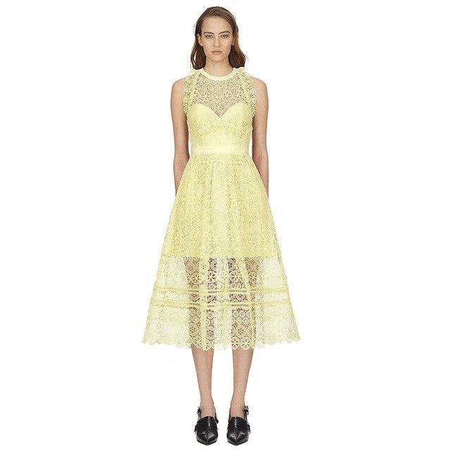Yellow Lace Backless Midi Dress - buyandpossess