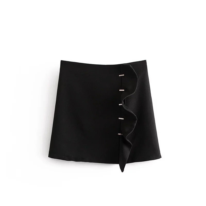 Ruffle Black Mini Skirt